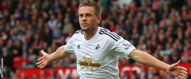 Gylfi Sigurdsson gave Swansea their first league win at Old Trafford