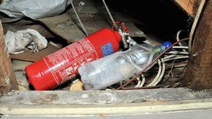 Fire extinguisher and apparatus found in Wesley Guilbert's flat by Guernsey Police