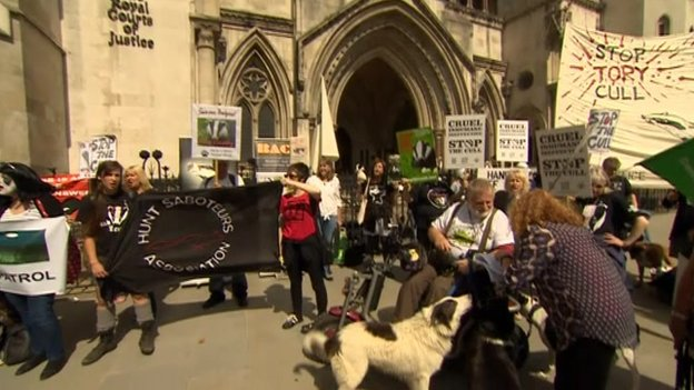 Protesters outside the High Court
