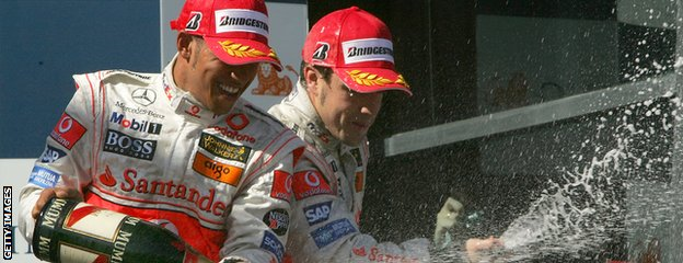 Lewis Hamilton (left) after finishing third in his F1 debut at Australia in 2007