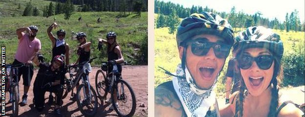 Lewis Hamlton with friends on holiday in Colorado