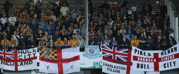 Hull City fans at Lokeren