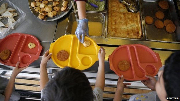 Children being served food