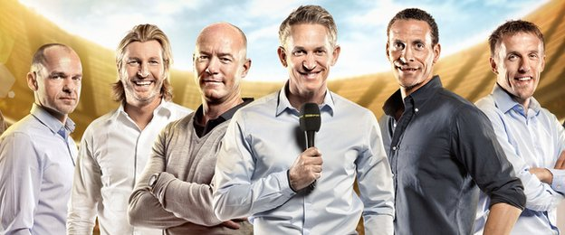 L-R: MOTD pundits Danny Murphy, Robbie Savage, Alan Shearer, Gary Lineker, Rio Ferdinand and Phil Neville