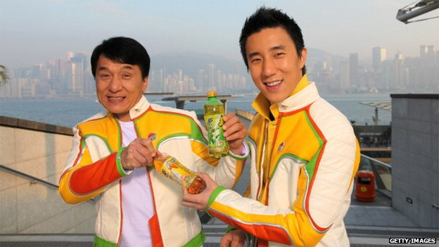 Jackie Chan and his son Jaycee  attend a commercial advertisement taping on 21 January, 2009 in Shanghai, China