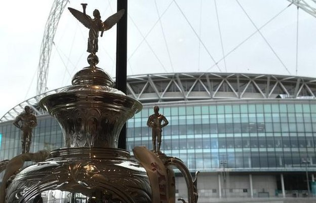Challenge Cup in front of Wembley Stadium