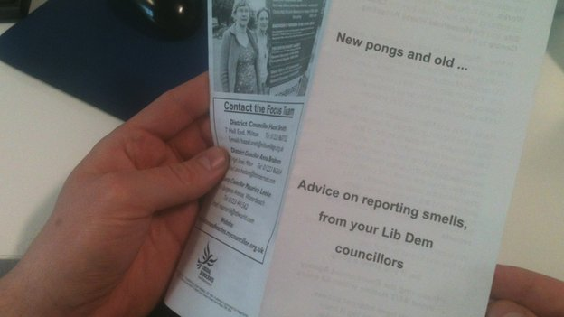 Leaflet encouraging Milton residents to report smells