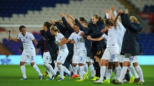 England women's football team celebrate after winning match
