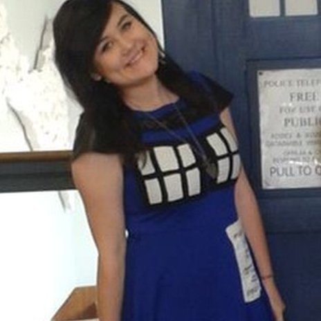 Sasha Sarkas-Bosman wearing a Dr Who dress