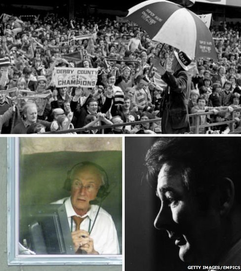 BBC commentator, Barry Davies, Derby County manager Brian Clough and crowd at the Baseball Ground