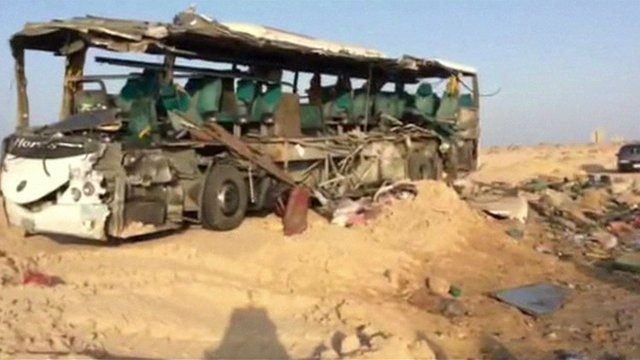 Bus carcass in Egypt