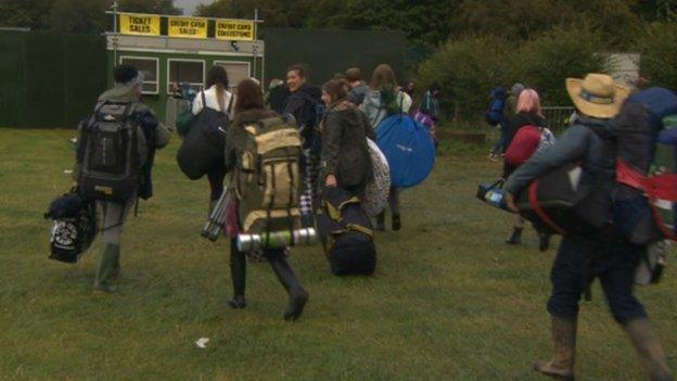 People heading into Leeds Festival