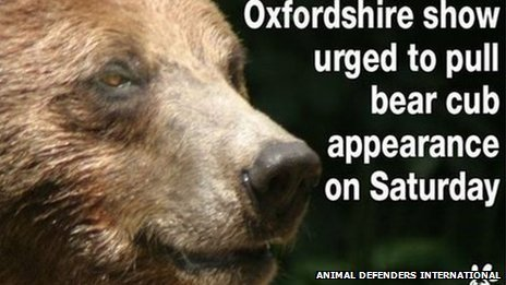Animal Defenders International protest against bear cub appearance