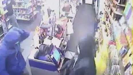 CCTV footage of a Gamesley shop robbery