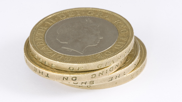 Pile of £2 coins