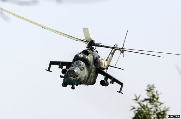A Ukrainian military helicopter over Kramatorsk, Donetsk region, 22 August