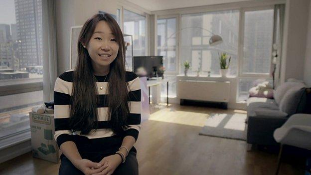 Cynthia Liu in her apartment