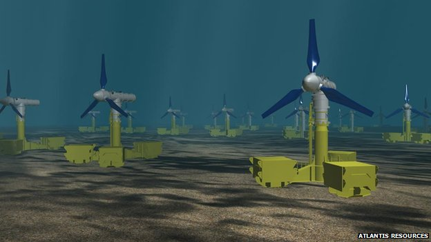Graphic of turbines on seabed