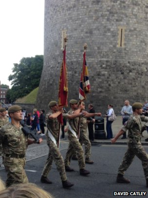 Troops passing Windsor Castle