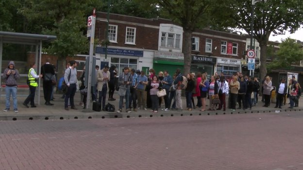 Commuters queuing for buses in Leytonstone