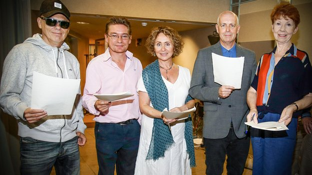 Chris Lowe (left) and Neil Tennant (second from right) with Archers cast members Ian Pepperell (Roy Tucker), Alison Dowling (Elizabeth Pargetter) and Carole Boyd (Linda Snell)