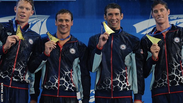 Michael Phelps with Matt Mclean, Ryan Lochte,  and Coner Dwyer