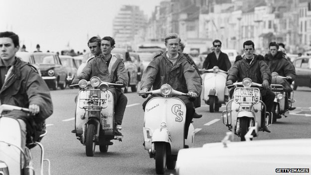 Mods on scooters in Hastings in 1964