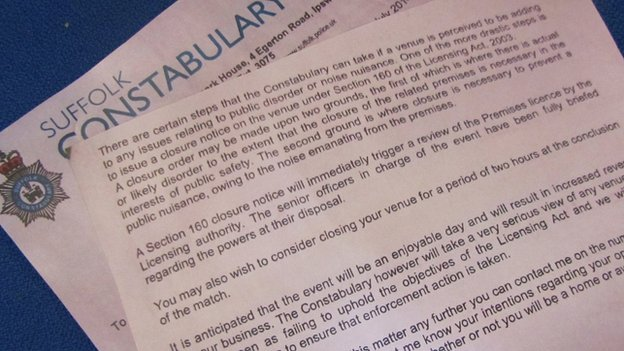Suffolk Police letter to Ipswich pubs