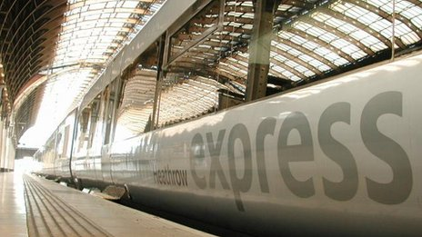 Heathrow Express train at Paddington Station