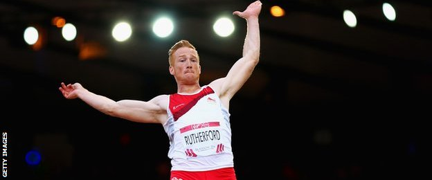Greg Rutherford in action during the 2014 Commonwealth Games