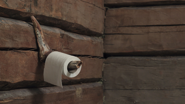 Toilet roll on a wall