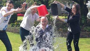 Alistair Darling doing ice bucket challenge