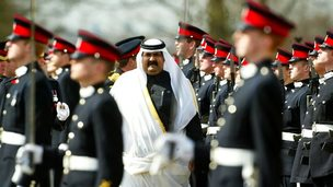 Hamad bin Khalifa Al-Thani, the Emir of Qatar until 2013, inspects soldiers at Sandhurst in 2004