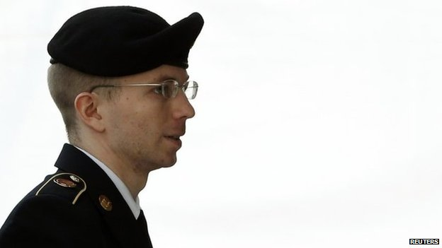 US soldier Chelsea Manning is escorted into court to receive her sentence at Fort Meade in Maryland 21 August 2013