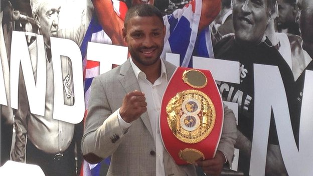 Kell Brook holding up his World champion belt