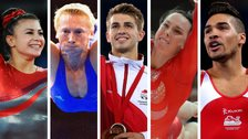 From left to right: British gymnasts Claudia Fragapane, Craig Heap, Max Whitlock, Beth Tweddle and Louis Smith