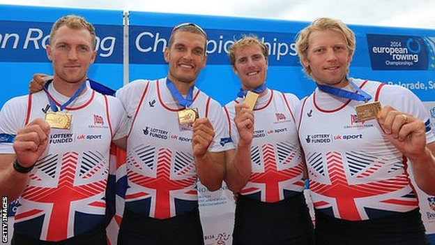 Great Britain's men's four at the European Championships
