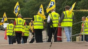 Union members walk out at the St Fagans museum