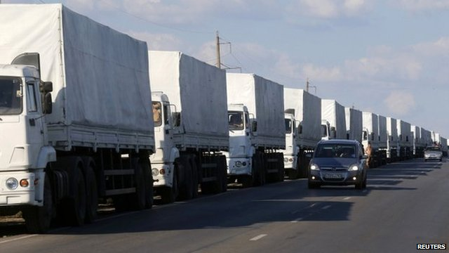 Russia's aid convoy at the Ukrainian border, 21 August