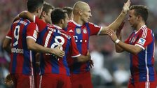 (Left-right) Bayern Munich's Robert Lewandowski, Thomas Muller, Juan Bernat, Arjen Robben and Mario Gotze