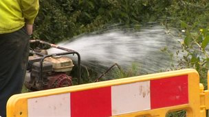 Water being pumped out at Nantyglo