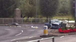 Scene of crash at roundabout in Queens Street in Enniskillen
