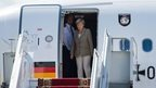 German Chancellor Angela Merkel on her arrival at the airport in Kiev, 23 August 2014