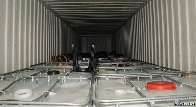 Internal view of container carrying the refugees