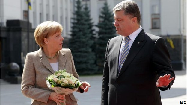 German Chancellor Angela Merkel meets Ukrainian President Petro Poroshenko in Kiev, 23 August 2014