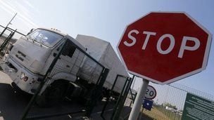 A truck from a convoy that delivered humanitarian aid for Ukraine moves back to Russia at a border crossing in the Rostov Region 23 August, 2014