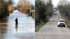 Two photos comparing the A361 road between East Lyng and Burrowbridge in Somerset during and after the flooding