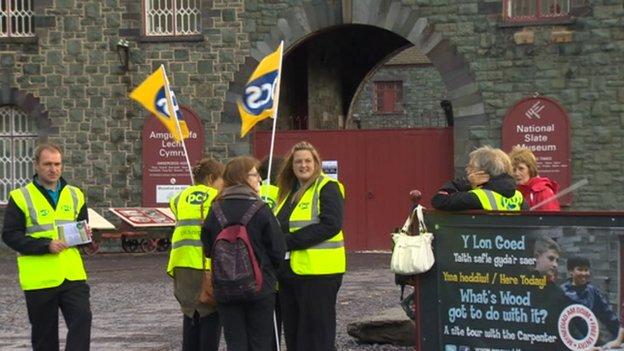 Striking staff outside the National Slate Museum, Llanberis, Gwynedd