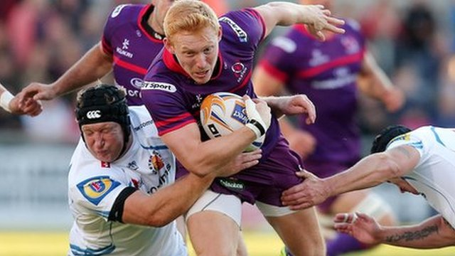 Rory Scholes in action for Ulster against Exeter