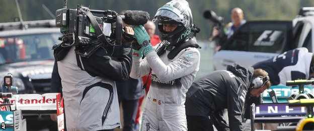 Nico Rosberg celebrates pole position